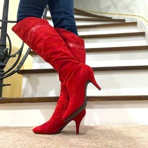 Le Chateau Red Suede Knee High Boots Sz 9